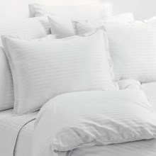 Melange Home Wide Dobby Stripe Duvet Set - King, 400 TC in White - Overstock