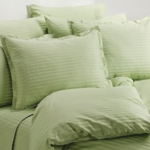 Melange Home Wide Dobby Stripe Duvet Set - Twin, 400 TC in Honey Dew - Overstock
