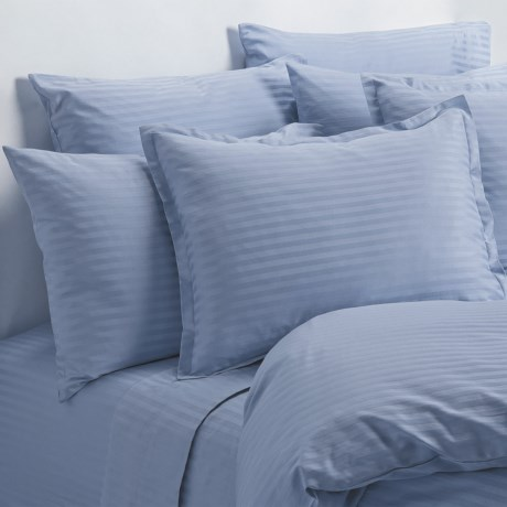 Melange Home Wide Dobby Stripe Pillowcases - Standard, 400 TC in Blue