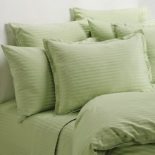 Melange Home Wide Dobby Stripe Pillowcases - Standard, 400 TC in Honey Dew - Overstock
