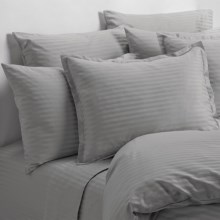 Melange Home Wide Dobby Stripe Pillowcases - Standard, 400 TC in Stone - Overstock