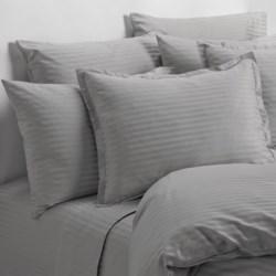 Melange Home Wide Dobby Stripe Pillowcases - Standard, 400 TC in Stone