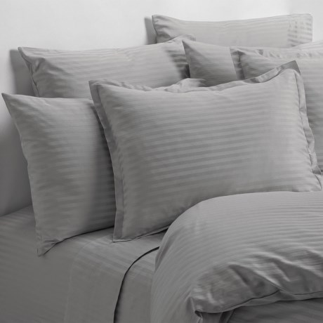 Melange Home Wide Dobby Stripe Pillowcases - Standard, 400 TC in Stone