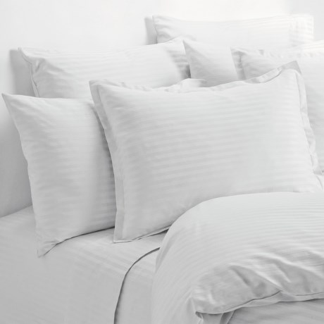 Melange Home Wide Dobby Stripe Pillowcases - Standard, 400 TC in White