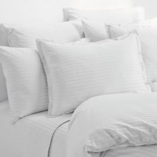 Melange Home Wide Dobby Stripe Sheet Set - Queen, 400 TC in White - Overstock