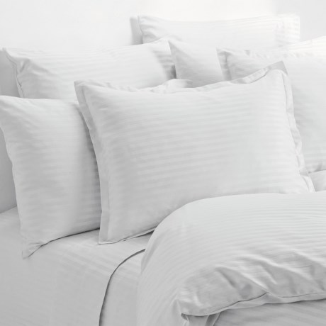 Melange Home Wide Dobby Stripe Sheet Set - Queen, 400 TC in White