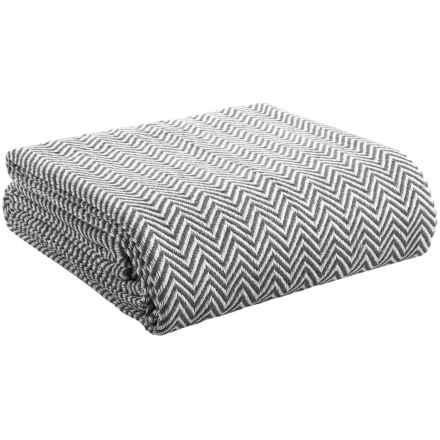Melange Home Yarn-Dyed Cotton Herringbone Blanket - Full/Queen in Grey - Overstock