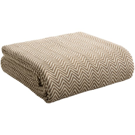 Melange Home Yarn-Dyed Cotton Herringbone Blanket - Full/Queen in Taupe