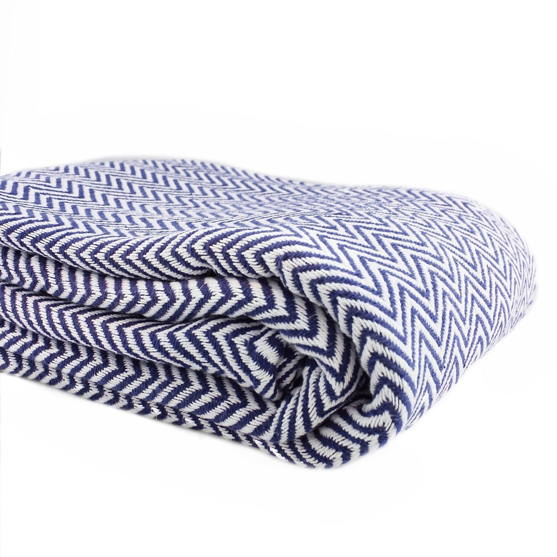 Melange Home YarnDyed Cotton Herringbone Blanket FullQueen