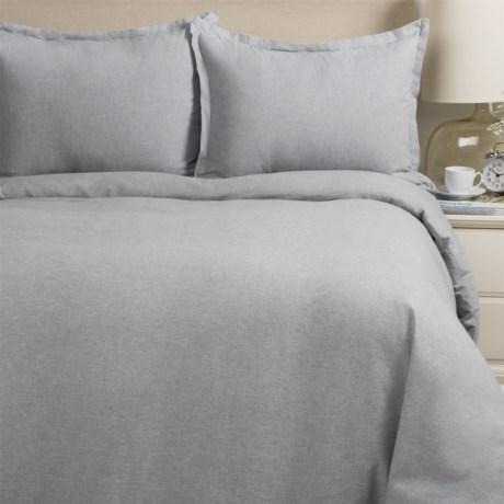 Melange Home Yarn-Dyed Flannel Duvet Set - Full-Queen in Grey Melange