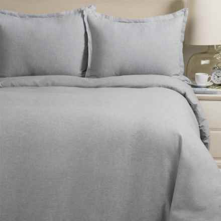Melange Home Yarn-Dyed Flannel Duvet Set - King in Grey Melange - Closeouts