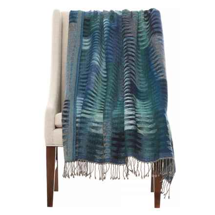 "Melange Home Yarn-Dyed Ikat Lightweight Throw Blanket - 50x70"", Merino Wool in Blue Multi - Closeouts"