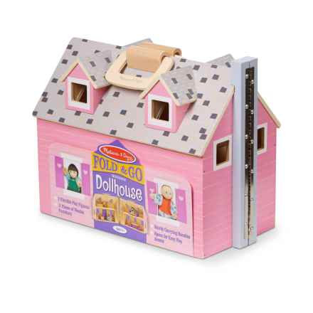Melissa & Doug Fold & Go Wooden Dollhouse in See Photo - Closeouts