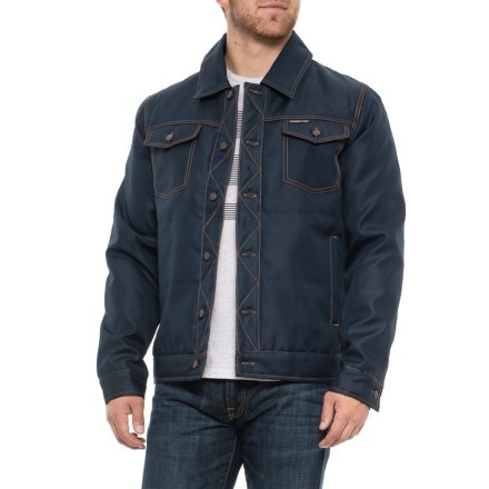 b75f882b7d3f5 Members Only Textured Trucker Jacket - Insulated (For Men) in Navy -  Closeouts