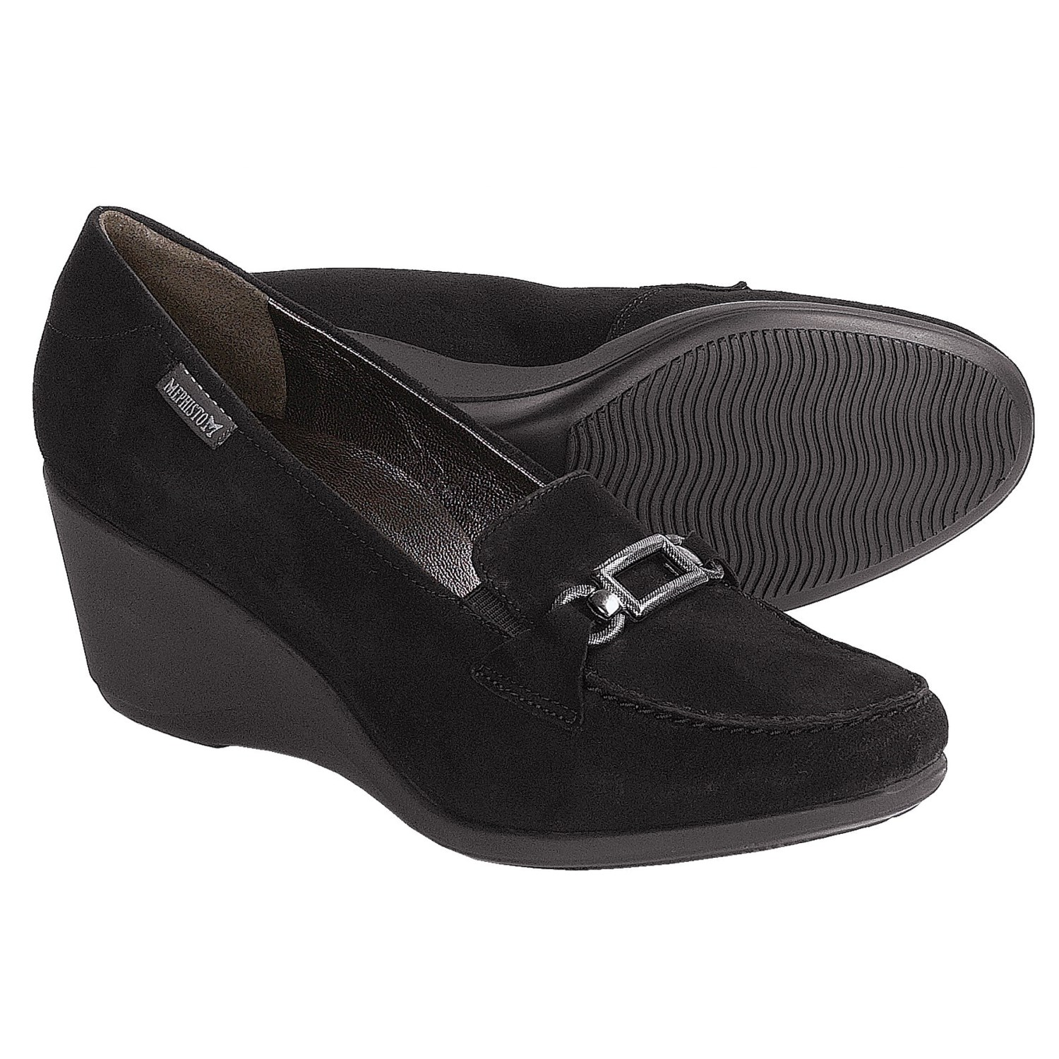 Mephisto Agueda Shoes - Wedge Heel (For Women) in Black Suede