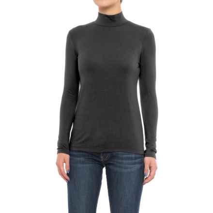Mercer & Madison Mock Turtleneck - Stretch Modal, Long Sleeve (For Women) in Black - Closeouts