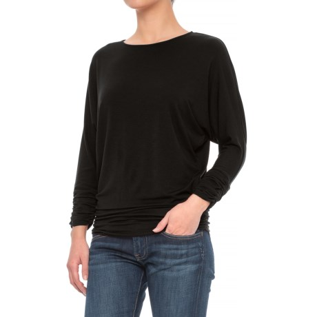 Mercer & Madison Shirred Dolman Shirt - Stretch Modal, Long Sleeve (For Women) in Black