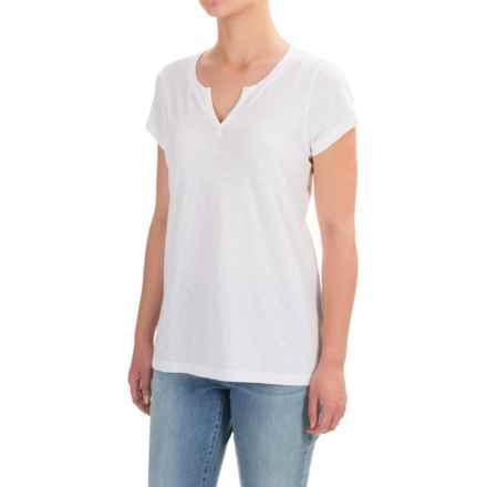 Mercer & Madison Slub-Knit T-Shirt - Split Neck, Short Sleeve (For Women) in White - Closeouts