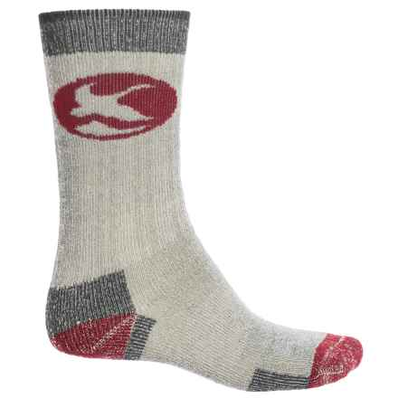 Merino Wool Hiking Socks - Crew (For Men) in Grey/Maroon - Closeouts