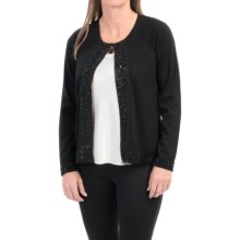 Merino Wool Open Front Cardigan Sweater - Bead Trim (For Women) in Black - 2nds