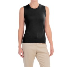 Merino Wool Scoop Neck Sweater - Sleeveless (For Women) in Black - 2nds
