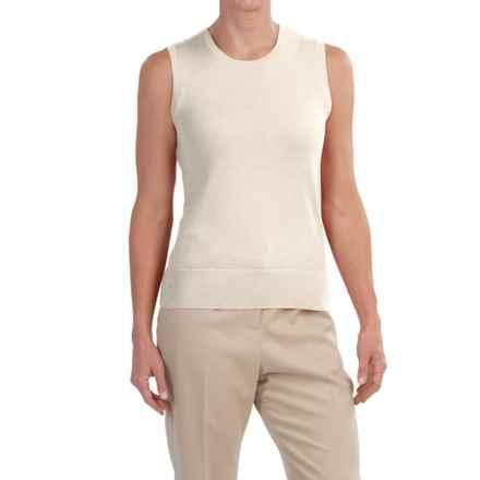 Merino Wool Scoop Neck Sweater - Sleeveless (For Women) in Ivory - 2nds