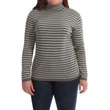 Merino Wool Stripe Turtleneck - Long Sleeve (For Plus Size Women) in Brown/White - 2nds