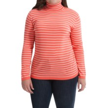 Merino Wool Stripe Turtleneck - Long Sleeve (For Plus Size Women) in Peach/White - 2nds