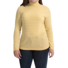 Merino Wool Stripe Turtleneck - Long Sleeve (For Plus Size Women) in Yellow/White - 2nds