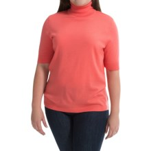 Merino Wool Turtleneck Sweater - Elbow Sleeve (For Plus Size Women) in Peach - 2nds