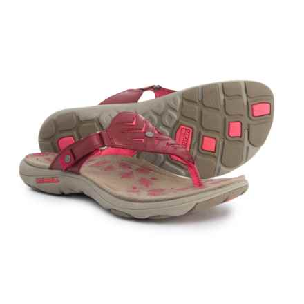 Merrell Adhera Thong Sandals - Leather (For Women) in Cranberry - Closeouts