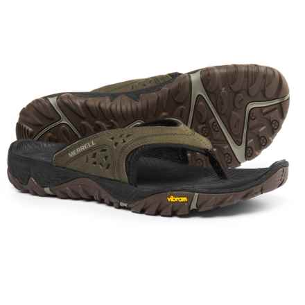 Merrell All-Out Blaze Flip Sport Sandals - Leather (For Men) in Dusty Olive - Closeouts