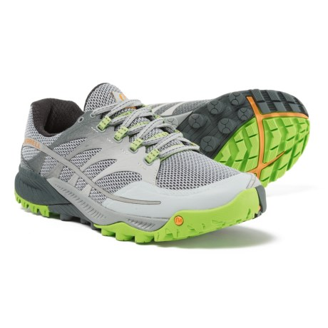 Merrell All Out Charge Trail Running Shoes (For Men) in Grey/Lime Green