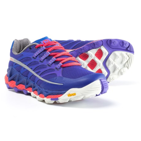 Merrell All Out Peak Trail Running Shoes (For Women) in Royal Blue/Orange