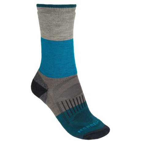Merrell Alpenglow Socks - Crew (For Women) in Dark Charcoal/Open Blue