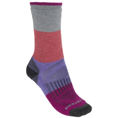 Merrell Alpenglow Socks - Crew (For Women) in Fog/Rio