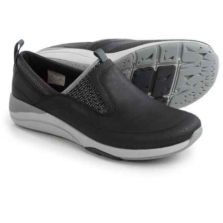 Merrell Applaud Moc Shoes - Leather, Slip-Ons (For Women) in Black - Closeouts