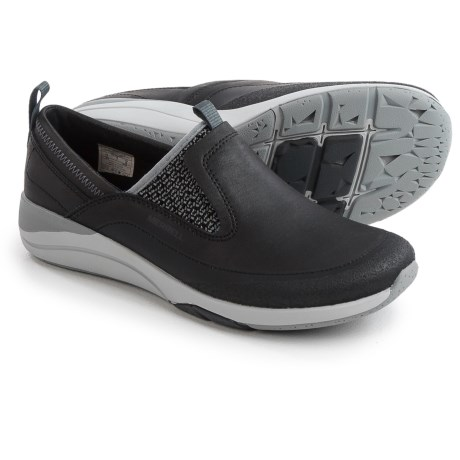 Merrell Applaud Moc Shoes - Leather, Slip-Ons (For Women) in Black
