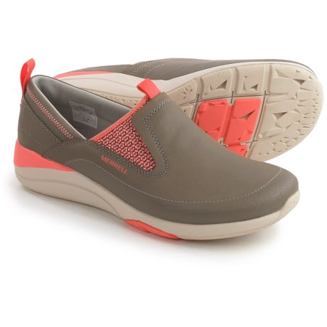 Merrell Applaud Moc Shoes - Leather, Slip-Ons (For Women) in Brindle