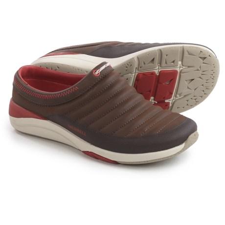 Merrell Applaud Slide Shoes - Leather, Slip-Ons (For Women) in Braken