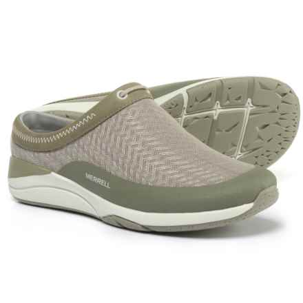 Merrell Applaud Slide Shoes - Leather, Slip-Ons (For Women) in Taupe Mesh - Closeouts