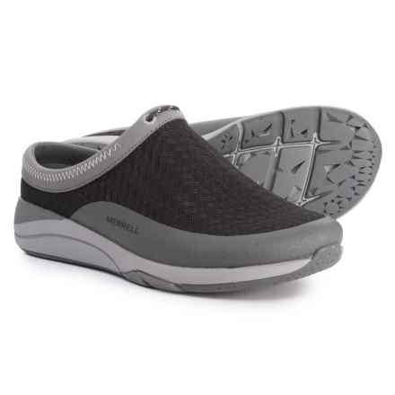 Merrell Applaud Slide Shoes - Slip-Ons (For Women) in Black/Grey Mesh - Closeouts