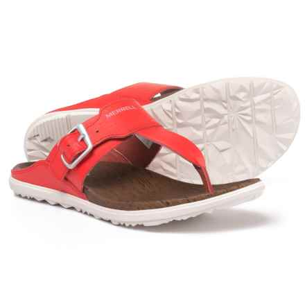 Merrell Around Town Leather Post Sandals (For Women) in Firey Red - Closeouts
