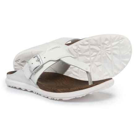 Merrell Around Town Leather Post Sandals (For Women) in White - Closeouts
