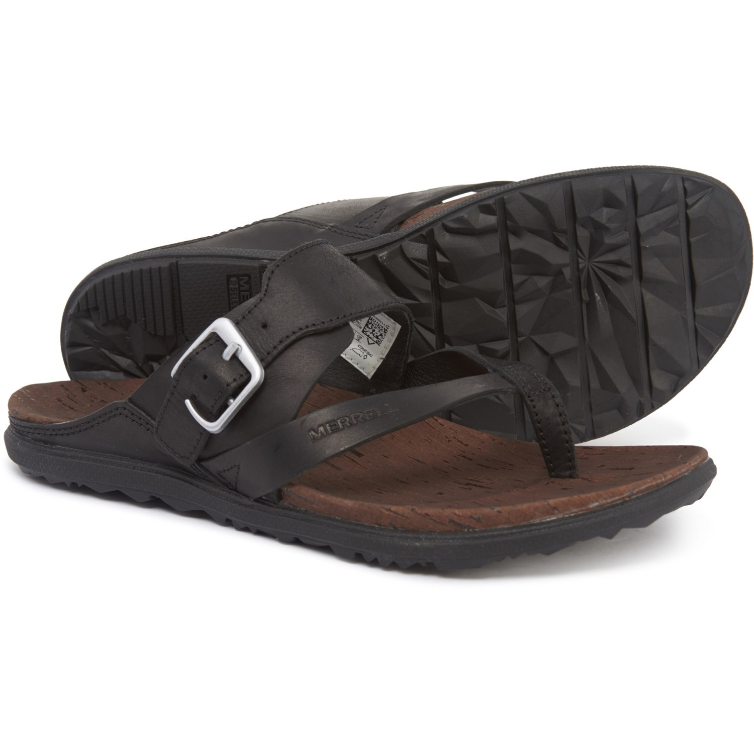 87295b5c8270 Merrell Around Town Thong Buckle Sandals - Leather (For Women) in Black ...