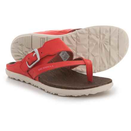 Merrell Around Town Thong Buckle Sandals - Leather (For Women) in Firey Red - Closeouts