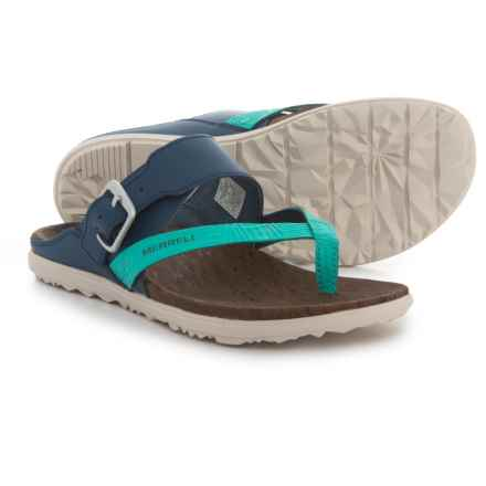 Merrell Around Town Thong Buckle Sandals - Leather (For Women) in Poseidon - Closeouts