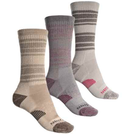 Merrell Athletic Cushioned Hiking Socks - 3-Pack, Crew (For Women) in Grey - Closeouts