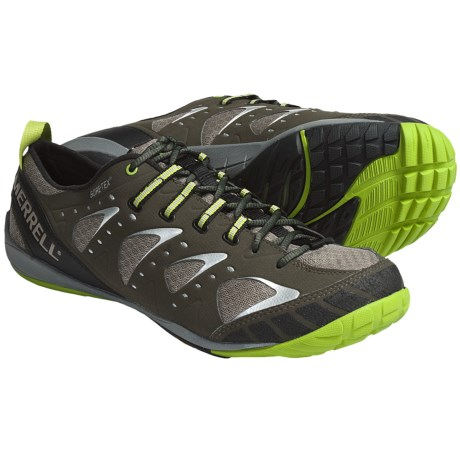 Merrell Barefoot Train Embark Glove Gore-Tex® Shoes - Waterproof, Minimalist (For Men) in Deep Olive/Kryptonite