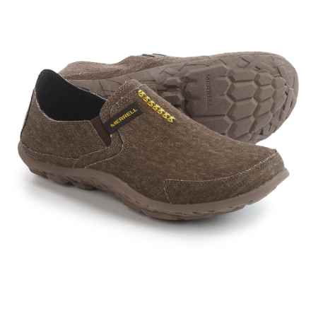 Merrell Canvas Slipper Shoes (For Men) in Dark Brown/Lime - Closeouts